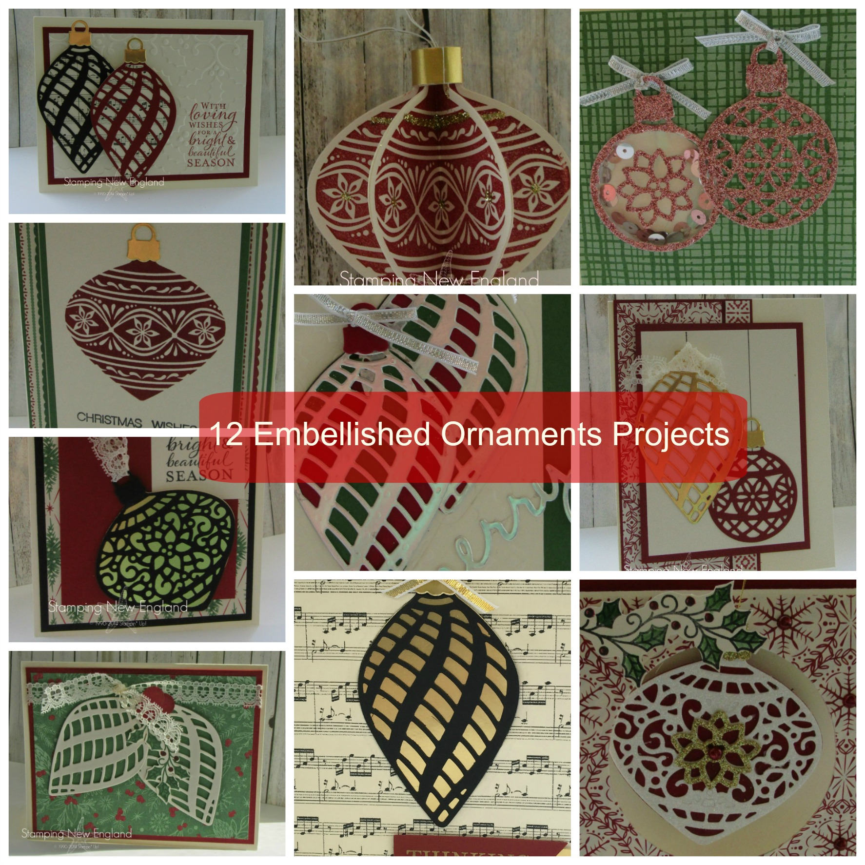 Embellished Ornaments Collage label